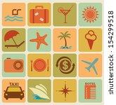 set of 16 retro travel icons | Shutterstock .eps vector #154299518