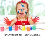 little girl painting with... | Shutterstock . vector #154303568