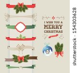 set of vector christmas ribbons ... | Shutterstock .eps vector #154303628