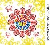 happy birthday greeting card... | Shutterstock .eps vector #154307360