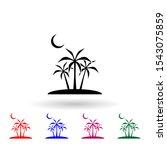 moon  palm multi color icon....