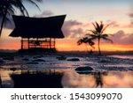 defocused beach hut and palm... | Shutterstock . vector #1543099070