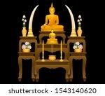 Golden Buddha Statue  And Altar ...