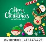 christmas elements in green... | Shutterstock .eps vector #1543171109