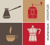 coffee color  icons set.vintage ... | Shutterstock .eps vector #154319120