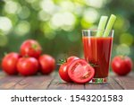 fresh tomato juice in glass... | Shutterstock . vector #1543201583