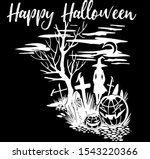 scary halloween silhouette with ...   Shutterstock .eps vector #1543220366