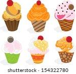 cup cake set | Shutterstock .eps vector #154322780