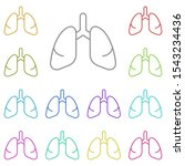 lungs multi color icon. simple...