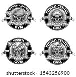 vintage logo angry skull and... | Shutterstock .eps vector #1543256900
