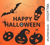 happy halloween  orange... | Shutterstock .eps vector #1543297586