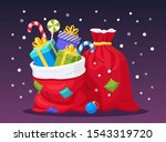 Santa Claus Red Bag With Gift...