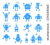 flat design style robots and... | Shutterstock .eps vector #154334060