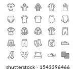 Baby Clothes Flat Line Icons...