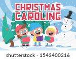 christmas carols. cute kid... | Shutterstock .eps vector #1543400216