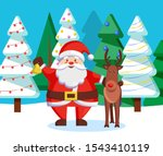 santa claus and reindeer in... | Shutterstock .eps vector #1543410119