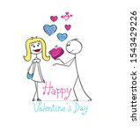 a happy couple. receiving gifts ... | Shutterstock .eps vector #1543429226