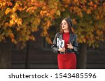 Stylish Young Woman In Autumn...
