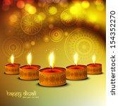 happy diwali glittering bright... | Shutterstock .eps vector #154352270