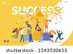 office workers celebrating with ... | Shutterstock .eps vector #1543530653