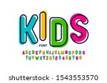 kids style colorful font ... | Shutterstock .eps vector #1543553570