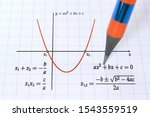 Small photo of Graph of a parabola and quadratic function with roots solution formula