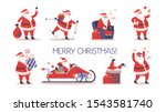 set of cute funny santa claus... | Shutterstock .eps vector #1543581740