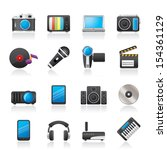 media and technology icons  ... | Shutterstock .eps vector #154361129