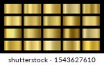 Gold Metallic, bronze, silver, chrome, copper metal foil texture gradient template. Golden swatch set. Metallic gold gradient illustration gradation for backgrounds, banner, rings, ribbons - stock photo