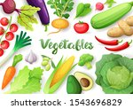 vegetables top view frame.... | Shutterstock .eps vector #1543696829
