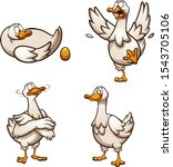 cartoon goose with golden egg... | Shutterstock .eps vector #1543705106
