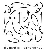 vector hand drawn arrows set on ... | Shutterstock .eps vector #1543708496