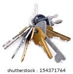 many keys on white background | Shutterstock . vector #154371764