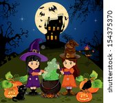 little witches who do a spell... | Shutterstock . vector #154375370