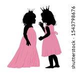two girlfriends silhouette.... | Shutterstock .eps vector #1543798676