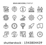 start up  bold line icons. the... | Shutterstock .eps vector #1543804439