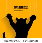 silhouette of a cat scratching background in vector - stock vector
