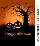 spooky halloween background... | Shutterstock .eps vector #154383944