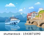 landscape with cruise ship near ... | Shutterstock .eps vector #1543871090
