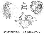 fire element zodiac signs. leo... | Shutterstock .eps vector #1543873979