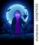 halloween ghost glowing eyes... | Shutterstock .eps vector #1543879253