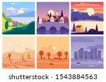 calendar set landscape summer ... | Shutterstock .eps vector #1543884563