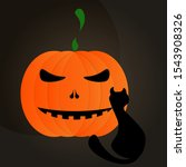 halloween cat and pumpkin... | Shutterstock .eps vector #1543908326