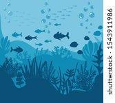undersea world icon. flat... | Shutterstock .eps vector #1543911986