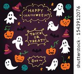 hand drawn halloween doodle.... | Shutterstock .eps vector #1543912076