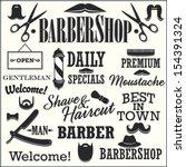 barbershop retro creation kit   ... | Shutterstock .eps vector #154391324
