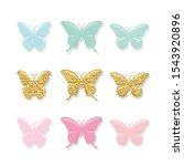 cartoon butterflies set. cute... | Shutterstock .eps vector #1543920896