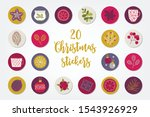 christmas circle stickers with... | Shutterstock .eps vector #1543926929