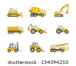 set of heavy equipment icons - stock vector