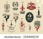 wine labels collection   Shutterstock .eps vector #154400219